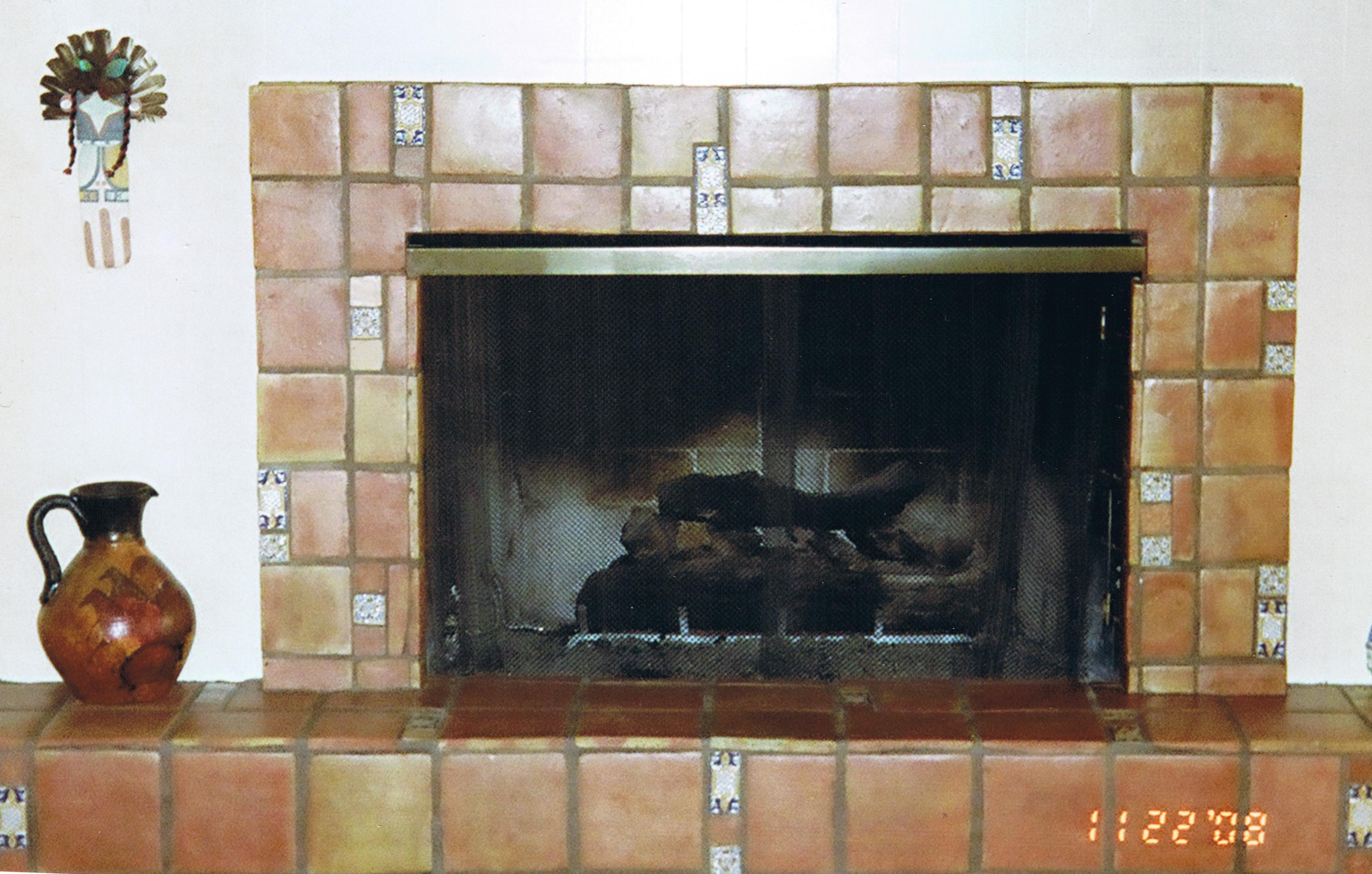 Saltillo Tile around fireplace (tilegig.com)